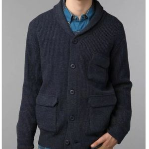 Stussy Gray Lambswool Shawl Collar Cardigan